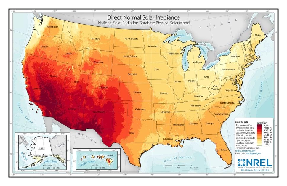 U.S. Annual Solar GHI or global horizontal irradiance sunlight