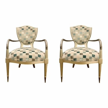 Caracole Modern Turquoise and Gray Coat of Arms Lounge Chairs - a Pair