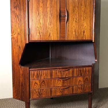 Mid Century Danish Rosewood Corner Cabinet With Bar by RetroPassion21