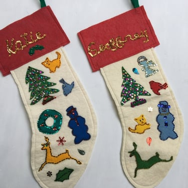 Vintage Felt Christmas Stockings, Katie Or Geoffrey, Your Choice, Hand Sewn Felt And Sequins by luckduck