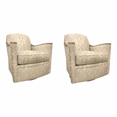 Caracole Modern White and Silver Abstract Around We Go Swivel Chairs - a Pair