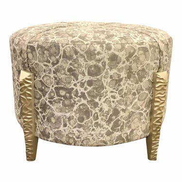 Caracole Modern Gray and White Abstract Chiseled Ottoman