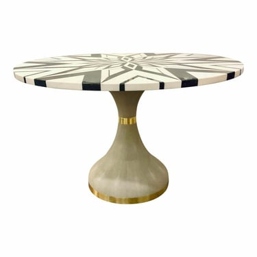 Made Goods Modern Black and White Geometric Marble Elis Dining Table